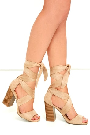 Dearest Natural Suede Lace-Up Heels at Lulus.com!