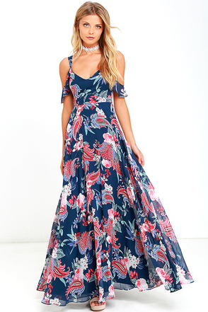 Romantic Fantasy Pink and Blue Floral Print Maxi Dress at Lulus.com!