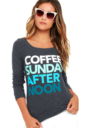Chaser Coffee Sunday Washed Blue Sweatshirt at Lulus.com!