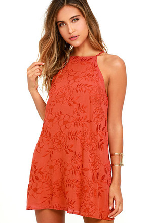 Lucy Love Sophia Rust Red Embroidered Dress at Lulus.com!