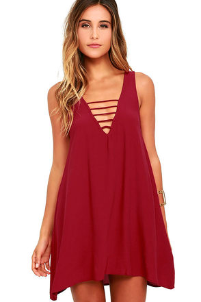 Lucy Love Cage Wine Red Swing Dress at Lulus.com!