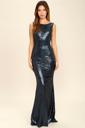 Slink and Wink Matte Navy Blue Sequin Maxi Dress at Lulus.com!