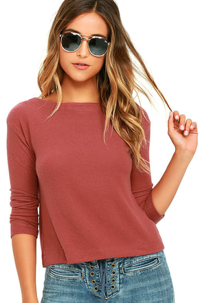Obey Sarra Rust Red Sweater Top at Lulus.com!