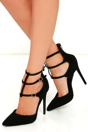 Sweet Greetings Black Nubuck Caged Pumps at Lulus.com!