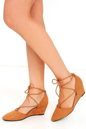 CL by Laundry Trissa Black Suede Lace-Up Wedges at Lulus.com!