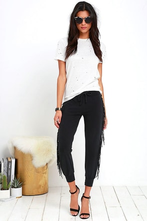 Amuse Society Cascade Black Fringe Sweatpants at Lulus.com!