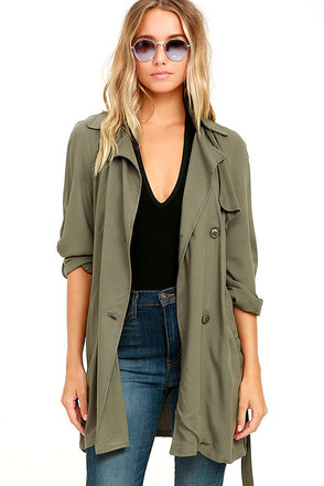 Olive & Oak Kennedy Olive Green Trench Coat at Lulus.com!