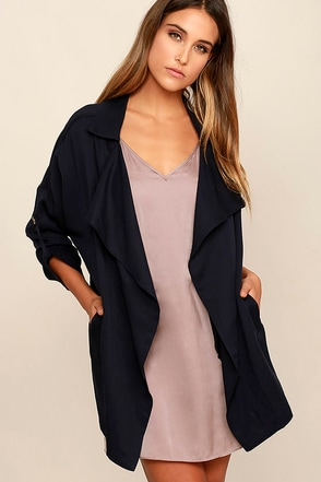 Lucky Break Navy Blue Oversized Jacket at Lulus.com!