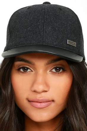RVCA Buffalo Charcoal Grey and Black Baseball Cap at Lulus.com!