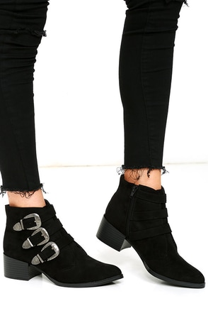 Belt Out Black Belted Suede Ankle Booties at Lulus.com!