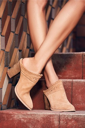 Chinese Laundry Nikki Natural Suede Leather Mules at Lulus.com!