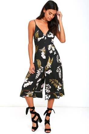 Somedays Lovin' Sweet Light Black Floral Print Midi Jumpsuit at Lulus.com!