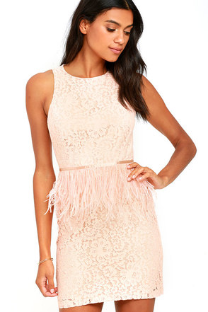 Fancy Dance Blush Pink Lace Feather Dress at Lulus.com!