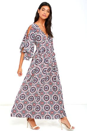 Sunshine Soul Navy Blue Print Maxi Dress at Lulus.com!