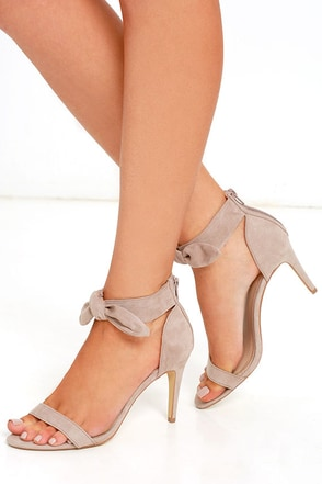 Madden Girl Veexx Taupe Suede Ankle Strap Heels at Lulus.com!