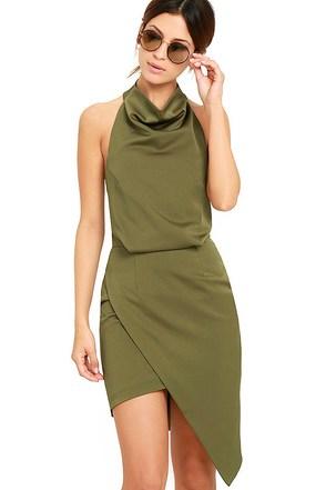 Elliatt Camo Olive Green Halter Dress at Lulus.com!