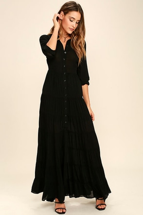 Nightbird Black Long Sleeve Maxi Dress at Lulus.com!
