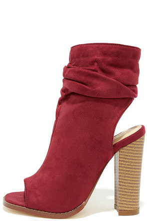 Only the Latest Wine Red Suede Peep-Toe Booties at Lulus.com!