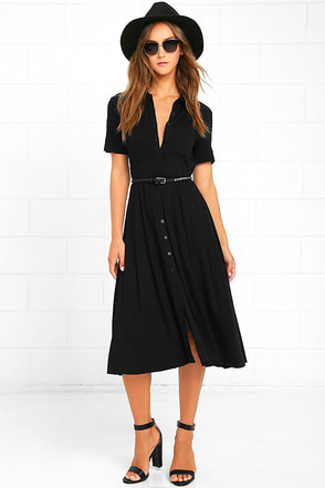 Tango in the Night Black Midi Dress at Lulus.com!