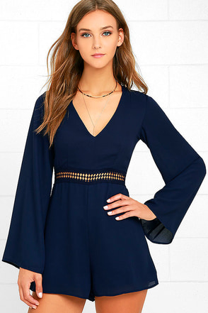Wyldr Hope So Navy Blue Romper at Lulus.com!