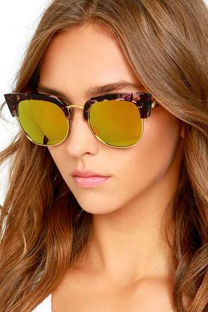 Wings Purple Tortoise and Dark Gold Mirrored Sunglasses at Lulus.com!