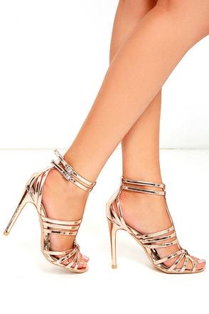 So Divine Rose Gold Caged Heels at Lulus.com!
