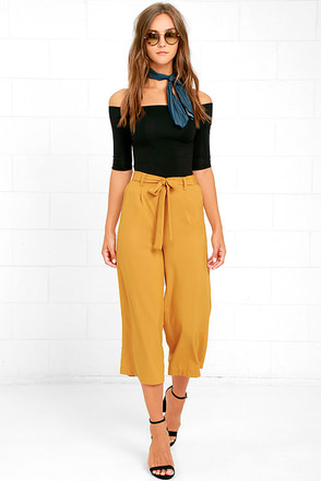 Sunny Stroll Mustard Yellow Culottes at Lulus.com!