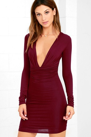 Curves Ahead Wine Red Bodycon Dress at Lulus.com!