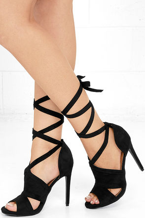 Reach for the Stars Black Suede Lace-Up Heels at Lulus.com!