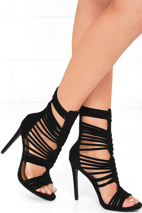 Like Totally Black Suede Caged Heels at Lulus.com!
