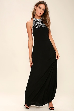 Mark My Words Black Embroidered Maxi Dress at Lulus.com!
