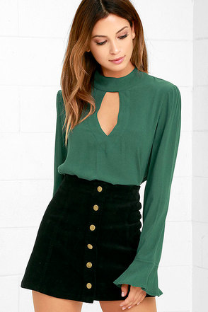 Dreamy Darling Forest Green Long Sleeve Top at Lulus.com!
