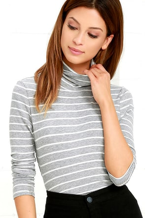 Show Your Stripes Grey Striped Turtleneck Top at Lulus.com!