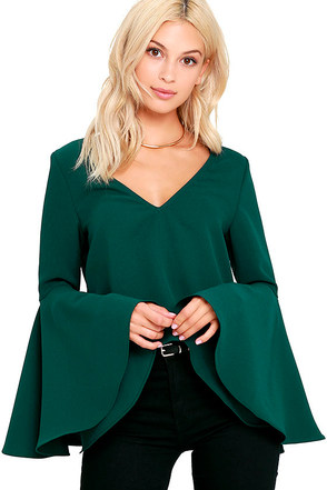 Ring the Bell Dark Green Long Sleeve Crop Top at Lulus.com!