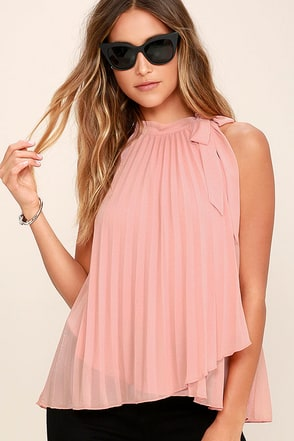 Style Starter Blush Pink Pleated Sleeveless Top at Lulus.com!