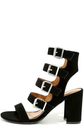Best Yet Black Nubuck Caged Heels at Lulus.com!