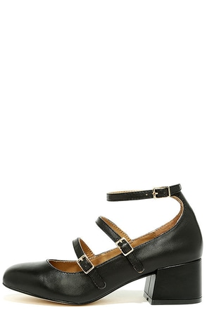 Chinese Laundry Moto Black Leather Ankle Strap Heels at Lulus.com!