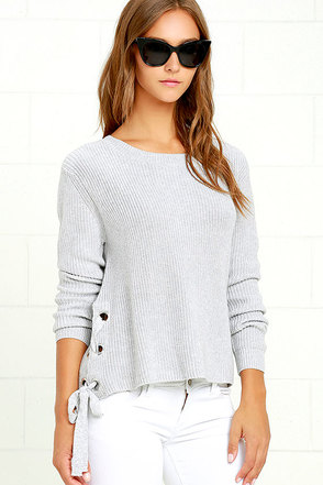 Laced in Love Grey Sweater at Lulus.com!