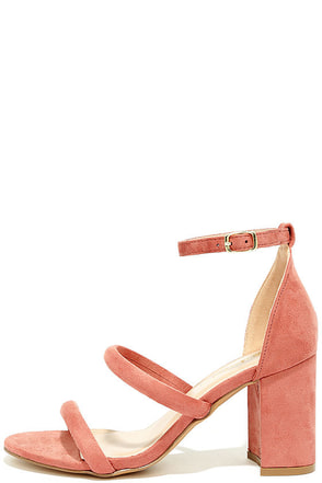 In the Now Blush Suede Ankle Strap Heels at Lulus.com!