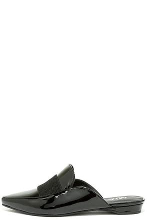 Mia Porsha Black Patent Loafer Slides at Lulus.com!