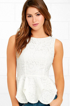 Time and Lace White Lace Peplum Top at Lulus.com!