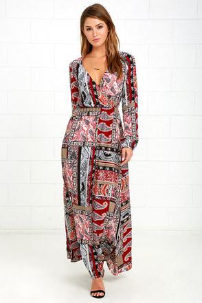Traveling Gypsy Burgundy Print Maxi Dress at Lulus.com!