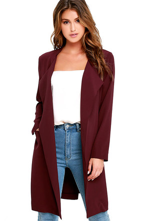 City Sleek Burgundy Trench Coat at Lulus.com!