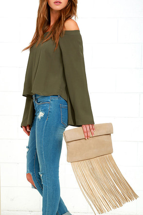 Palomino Light Grey Suede Leather Fringe Clutch at Lulus.com!