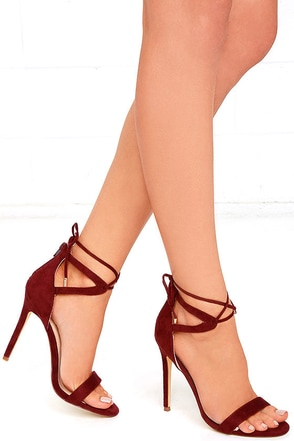 High Above Me Burgundy Suede Lace-Up Heels at Lulus.com!