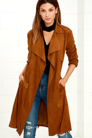 Take On the World Tan Suede Trench Coat at Lulus.com!