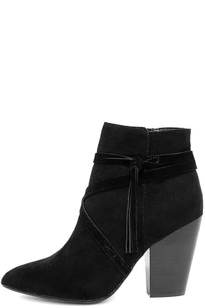 Report Indiana Black Suede Ankle Booties at Lulus.com!