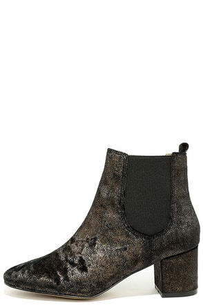 Report Tress Bronze Velvet Ankle Booties at Lulus.com!