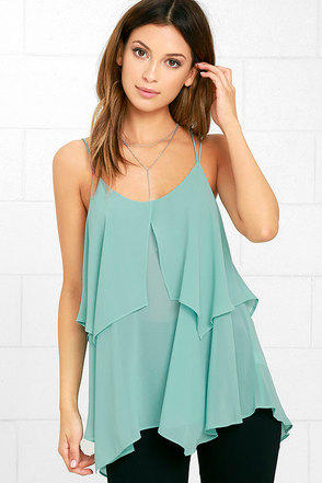 Message in a Bottle Mint Blue Top at Lulus.com!