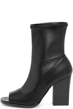 Report Bradshaw Black Peep-Toe Mid-Calf Boots at Lulus.com!